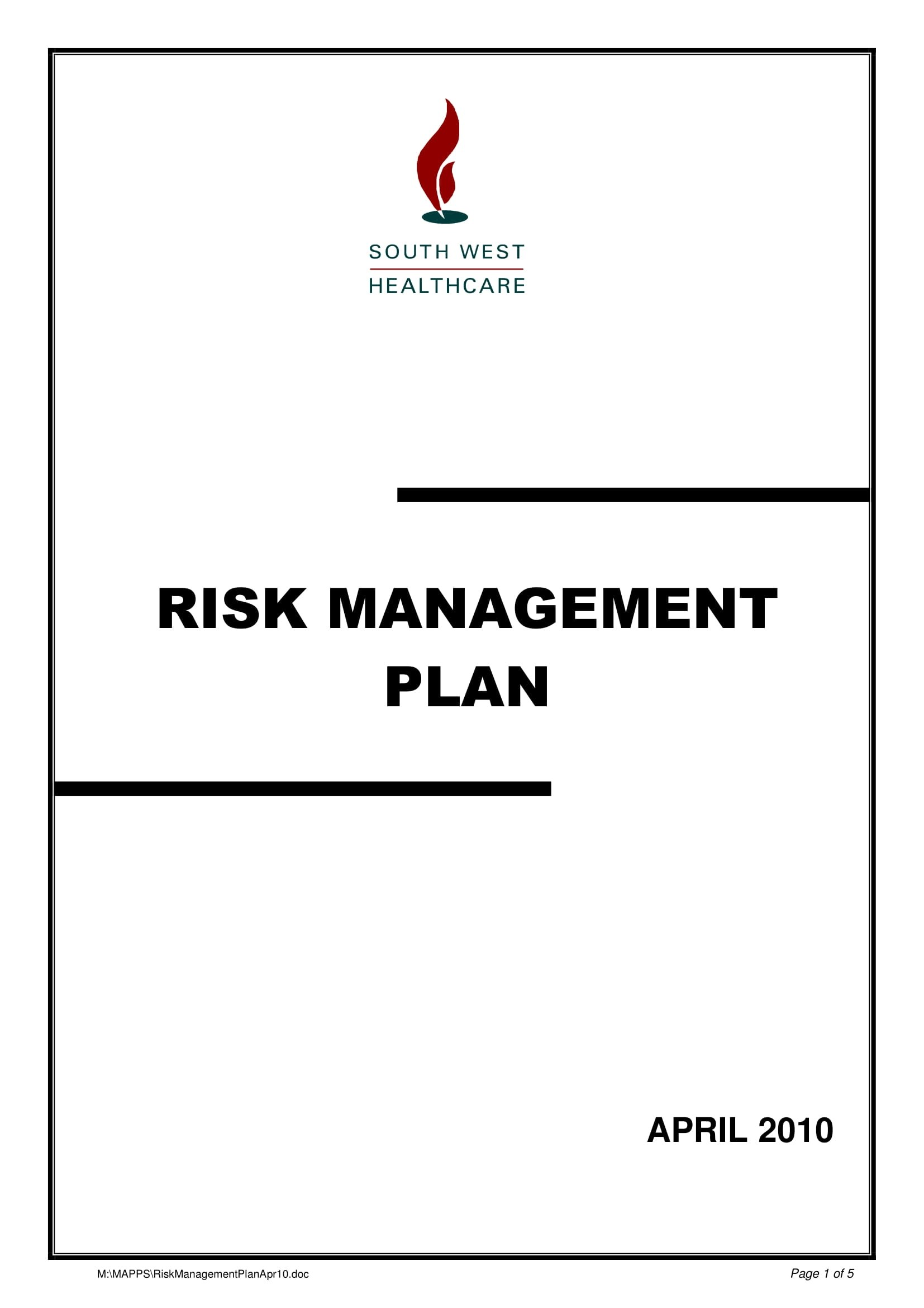 Health Care Risk Management Plan Example