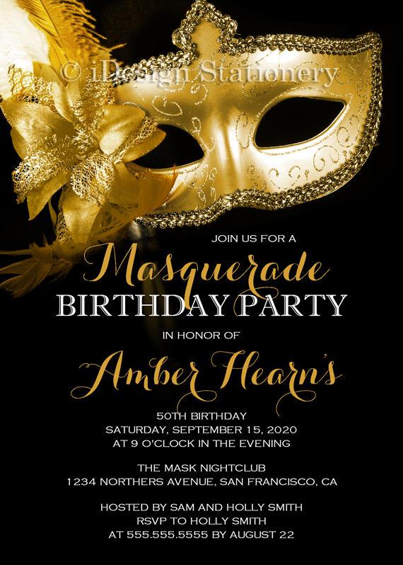 19 masquerade ball birthday invitation