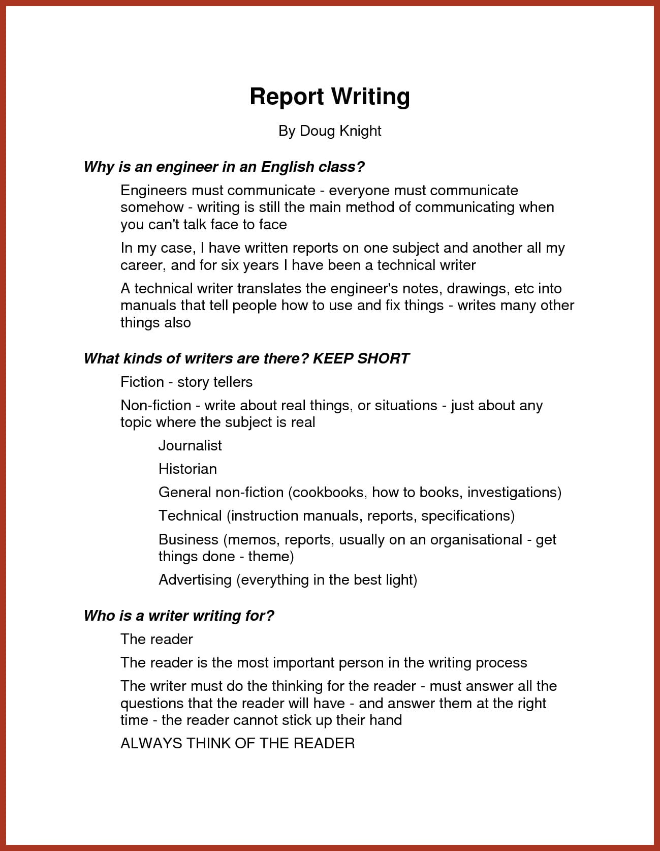 how to write a report writing examples