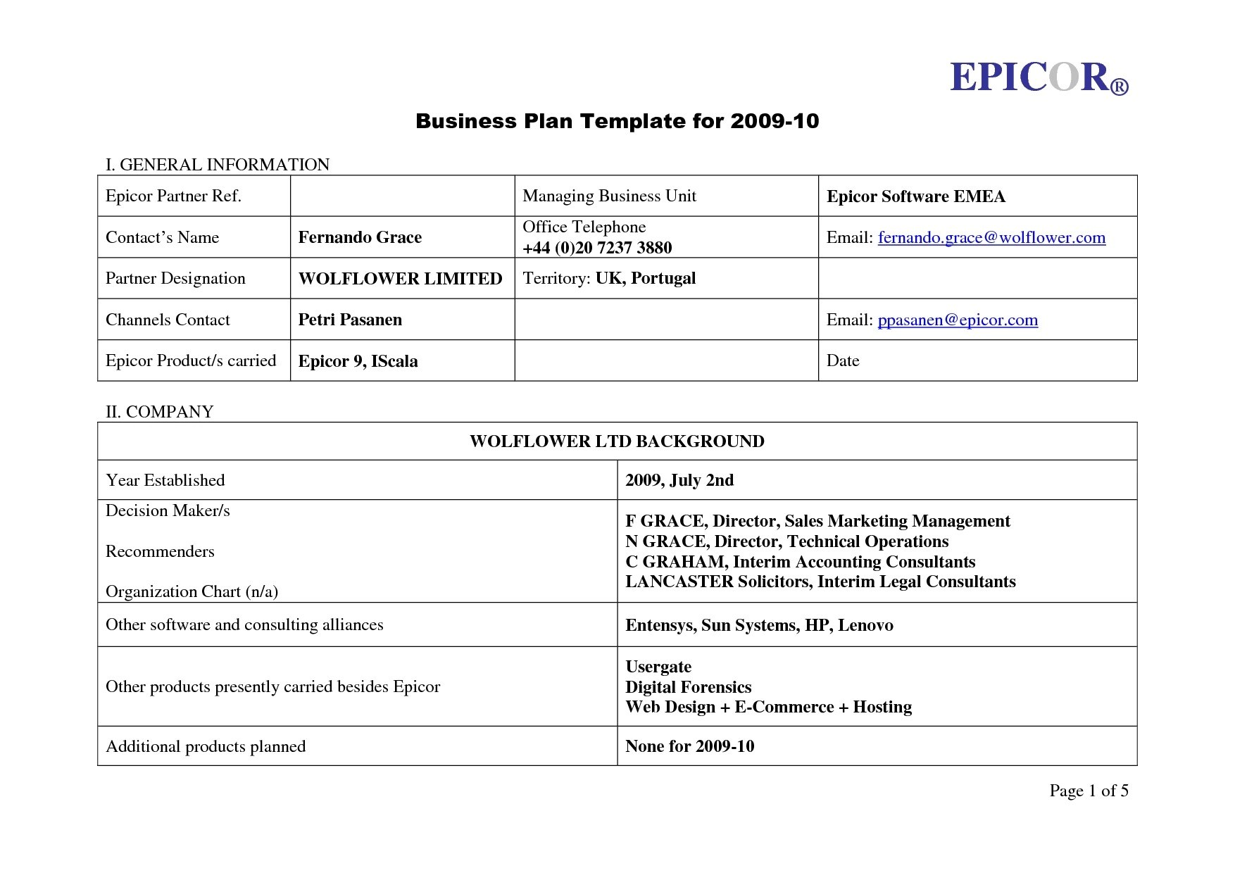 Business Plan Template For Dmp Example