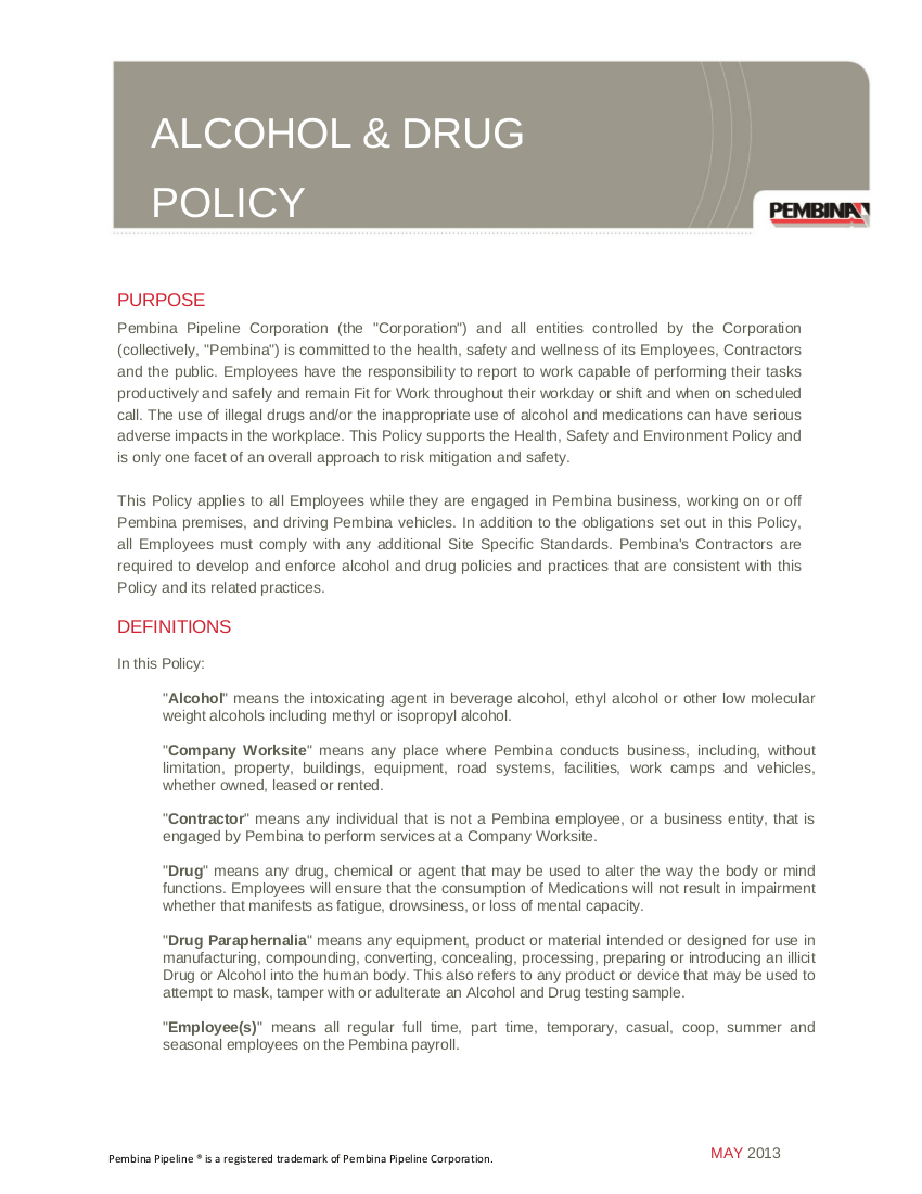 9+ Drug and Alcohol Policy Examples - PDF   Examples