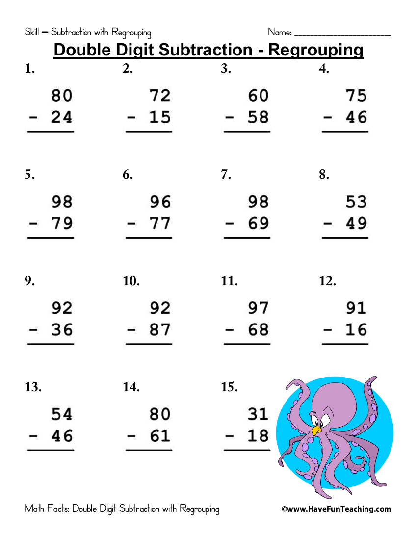 hight resolution of 6+ Subtraction Worksheet Examples - PDF   Examples