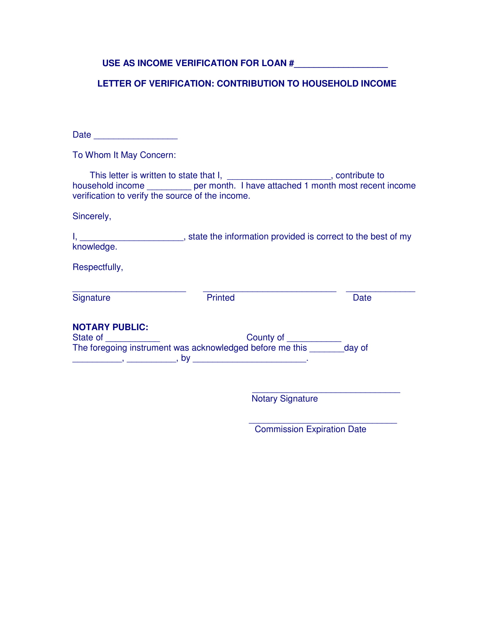 Proof Of Income Letter Template