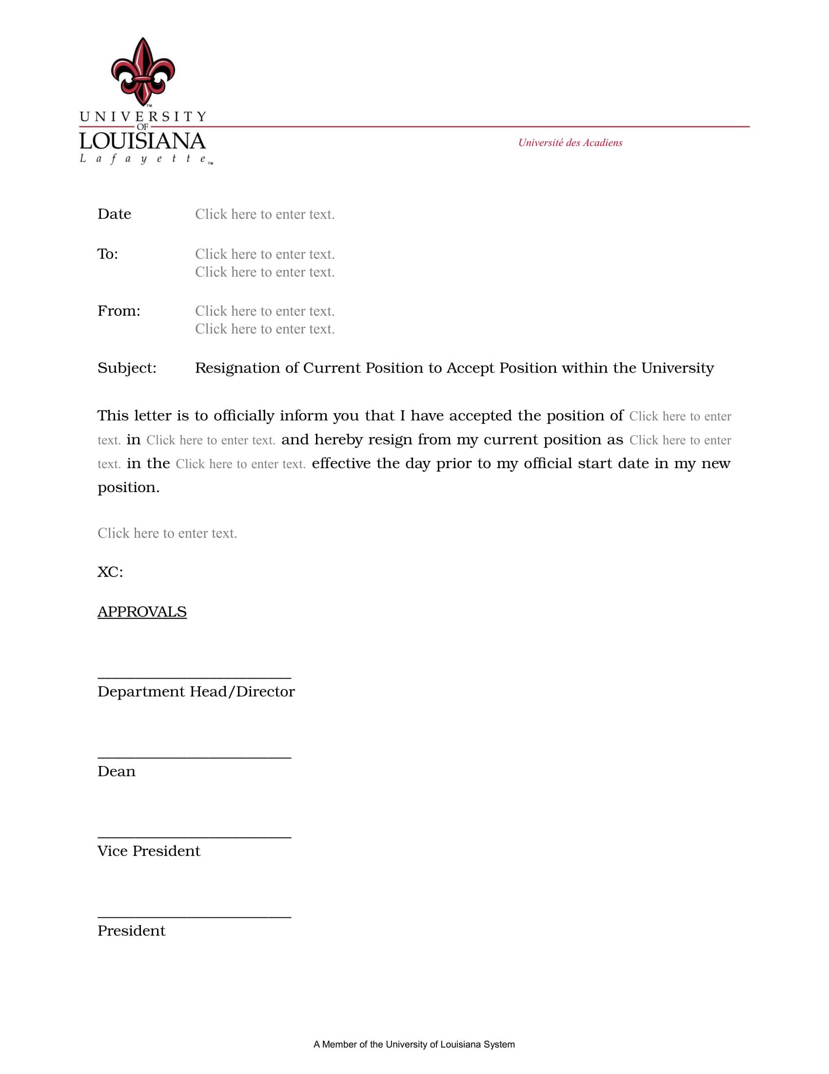 Resignation Letter Internal Transfer Resignation director of loss ...