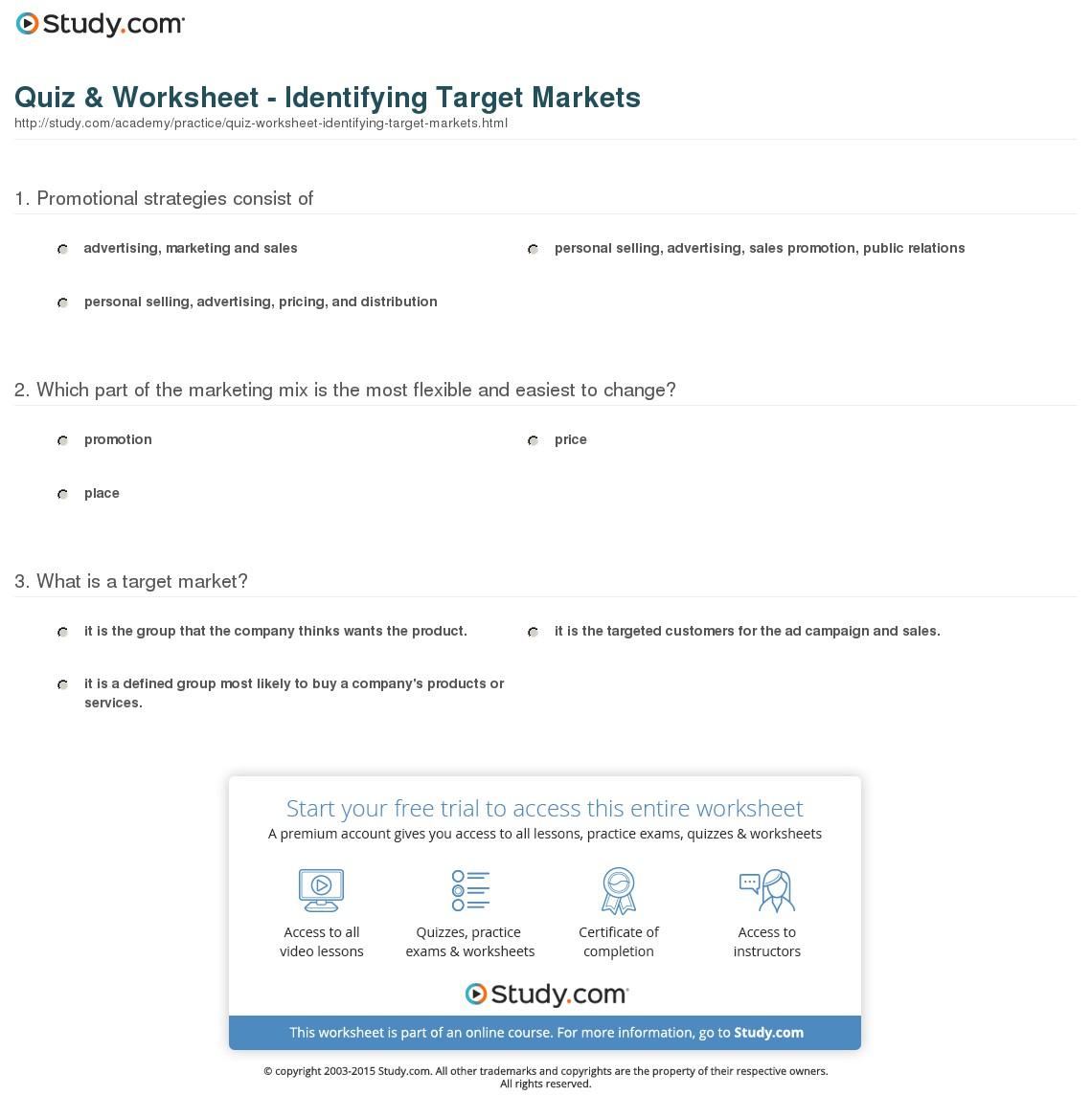 2 Target Market Worksheet Examples