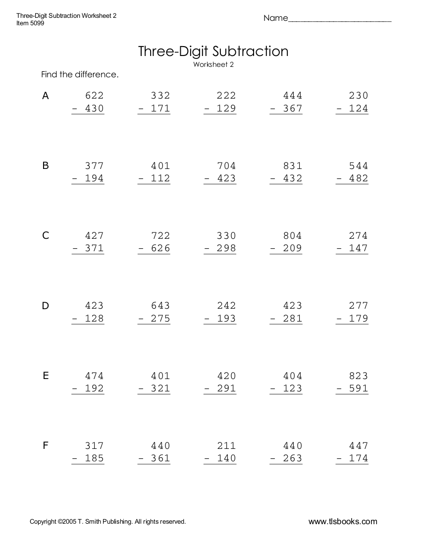 medium resolution of 6+ Subtraction Worksheet Examples - PDF   Examples