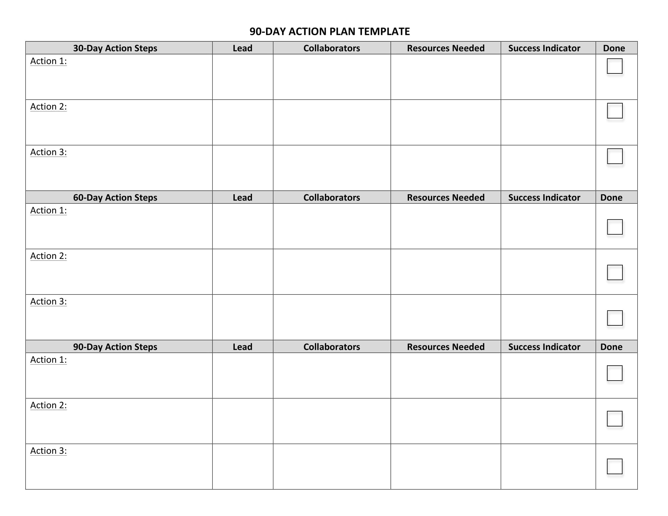 90 Day Action Plan Worksheet Example