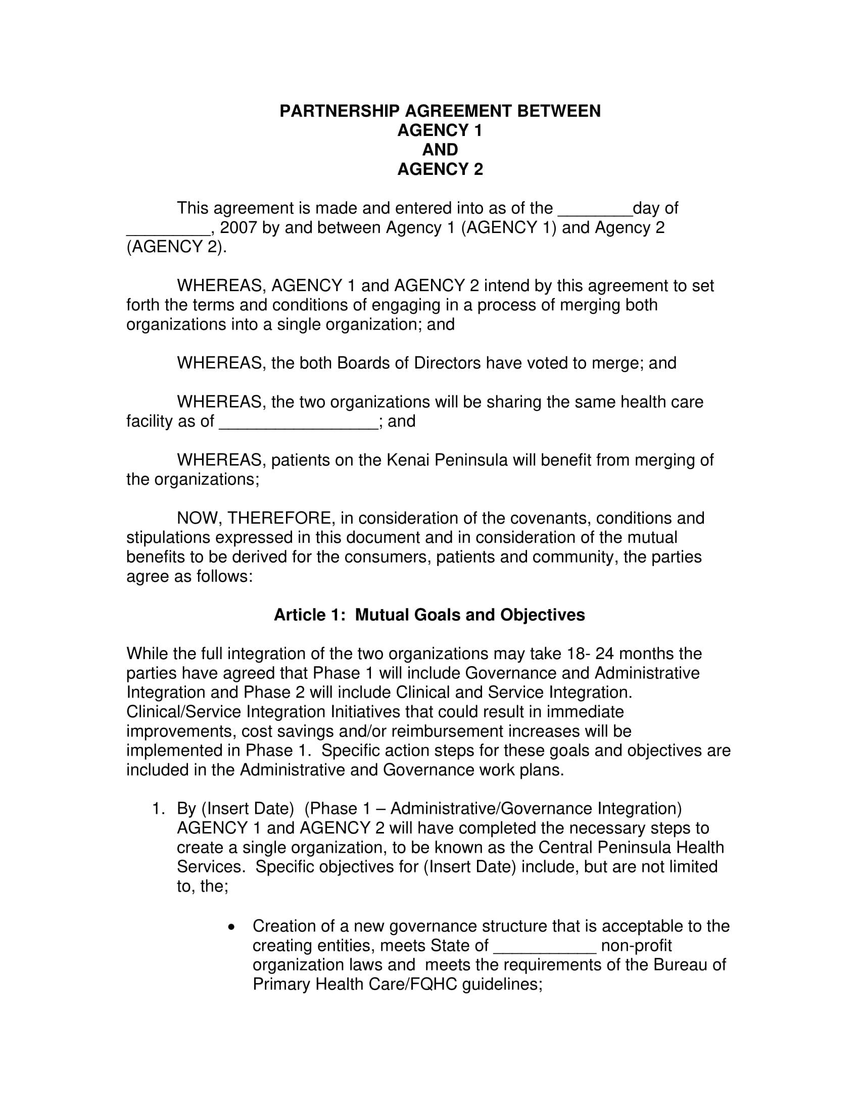 Agency Partnership Agreement Example