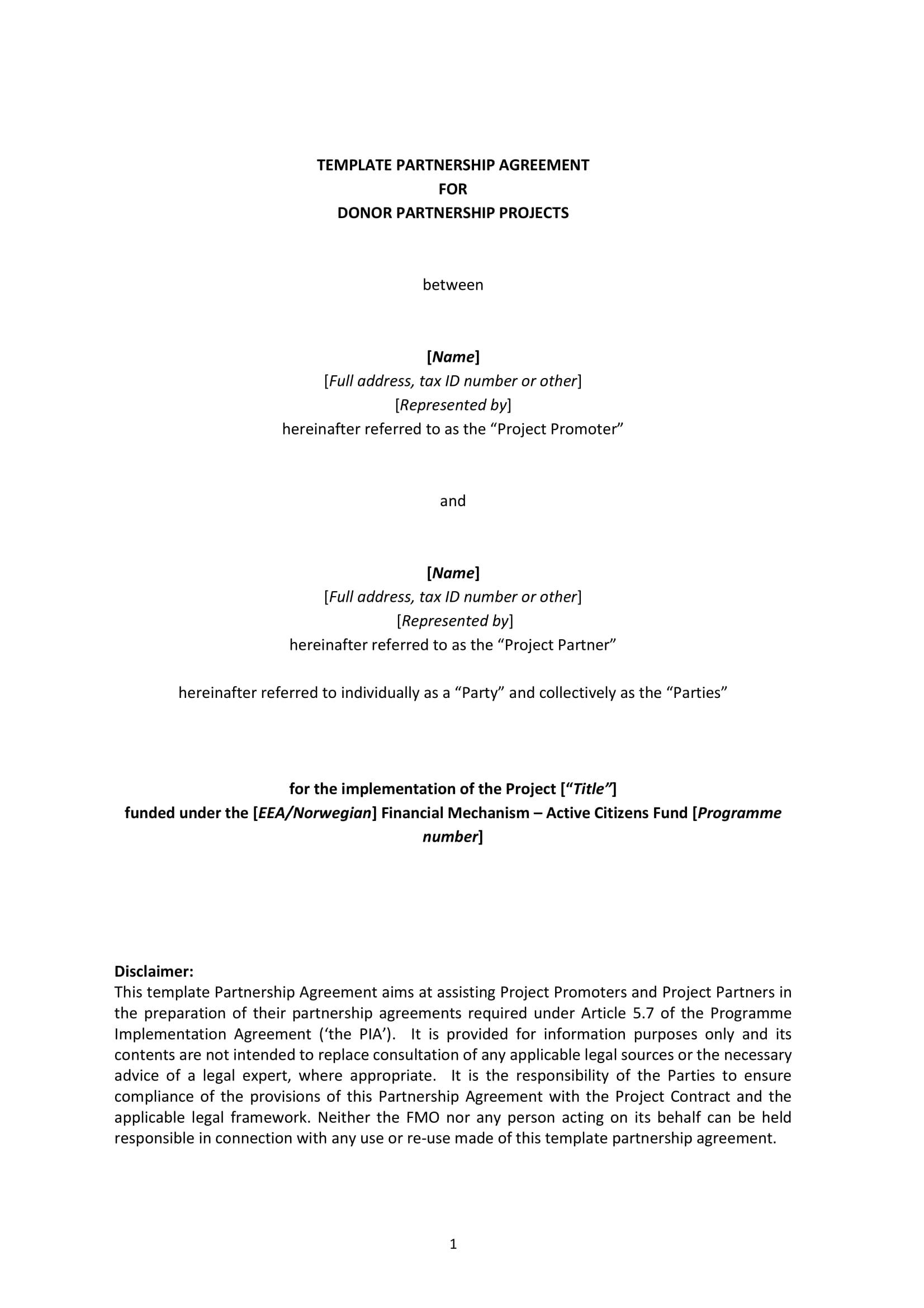 Bilateral Partnership Agreement Example