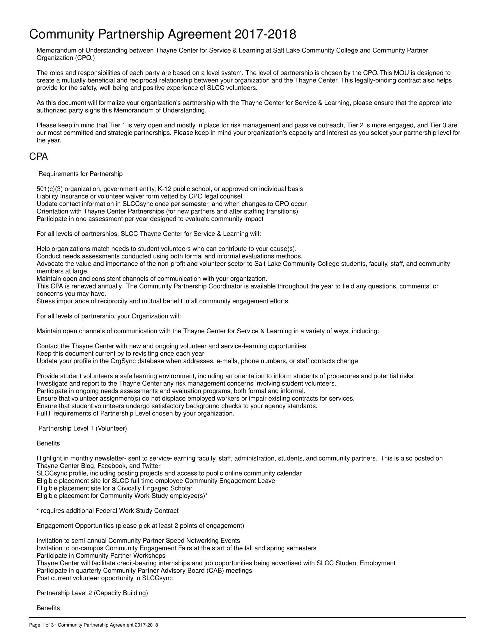 Community Partnership Agreement Example