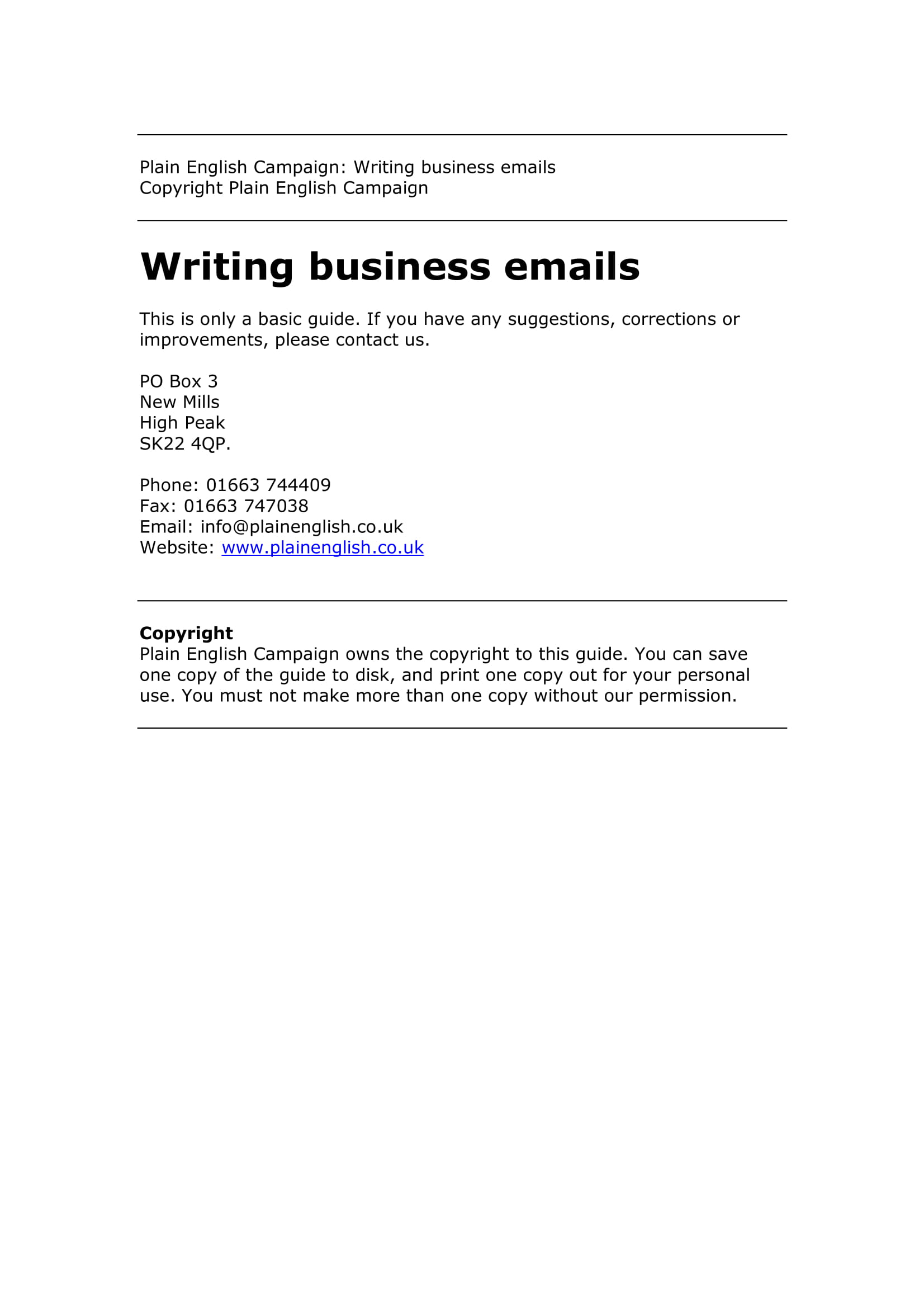 email in english example business
