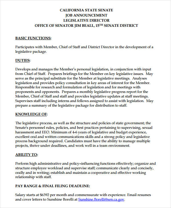 Change Position Announcement