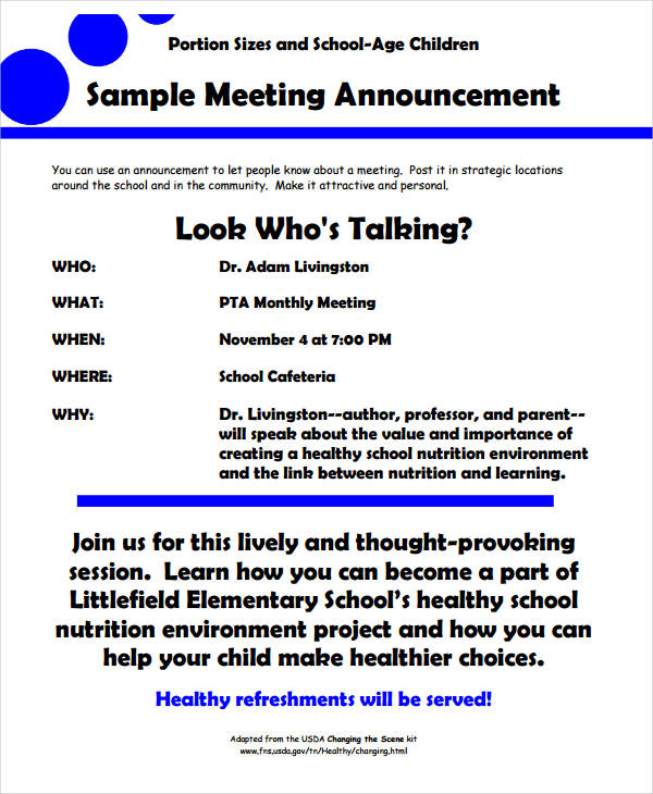 10+ Meeting Announcement Examples - PDF | Examples