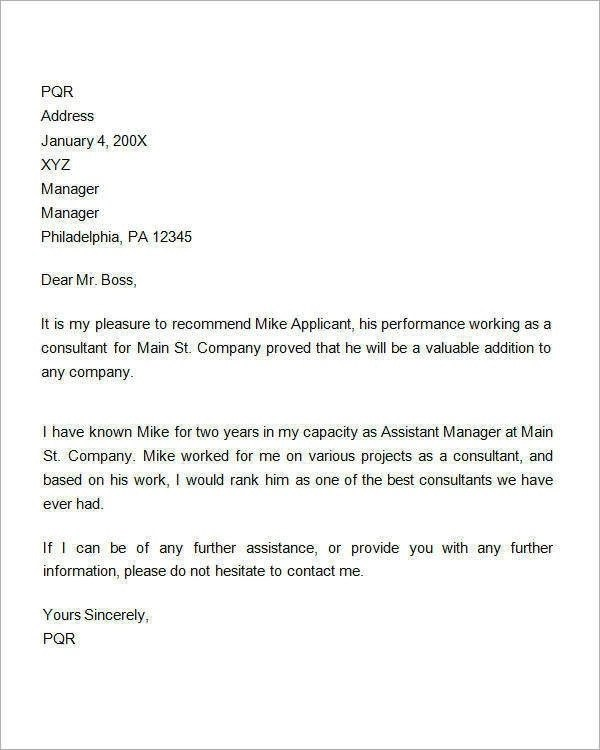 9 Reference Letter for Employment Examples  PDF  Examples