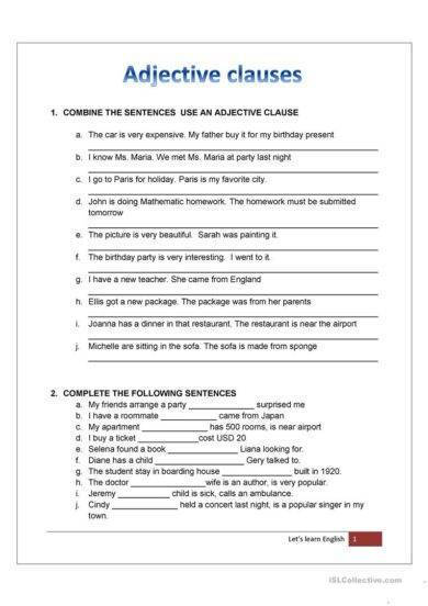 Adjective Clause Worksheet Example2