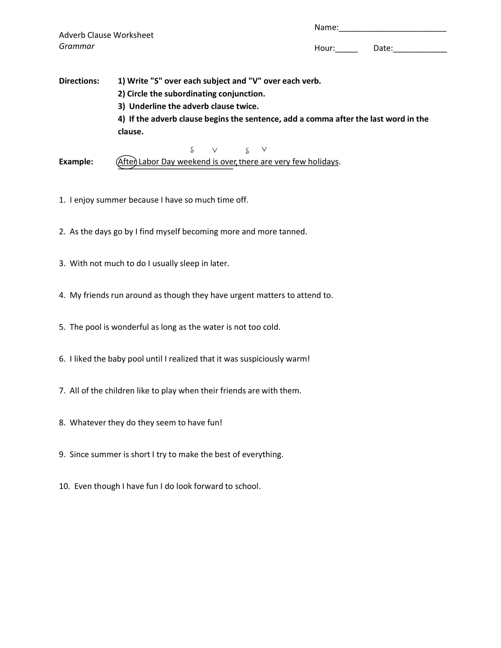 Adverb Clause Worksheet Example2