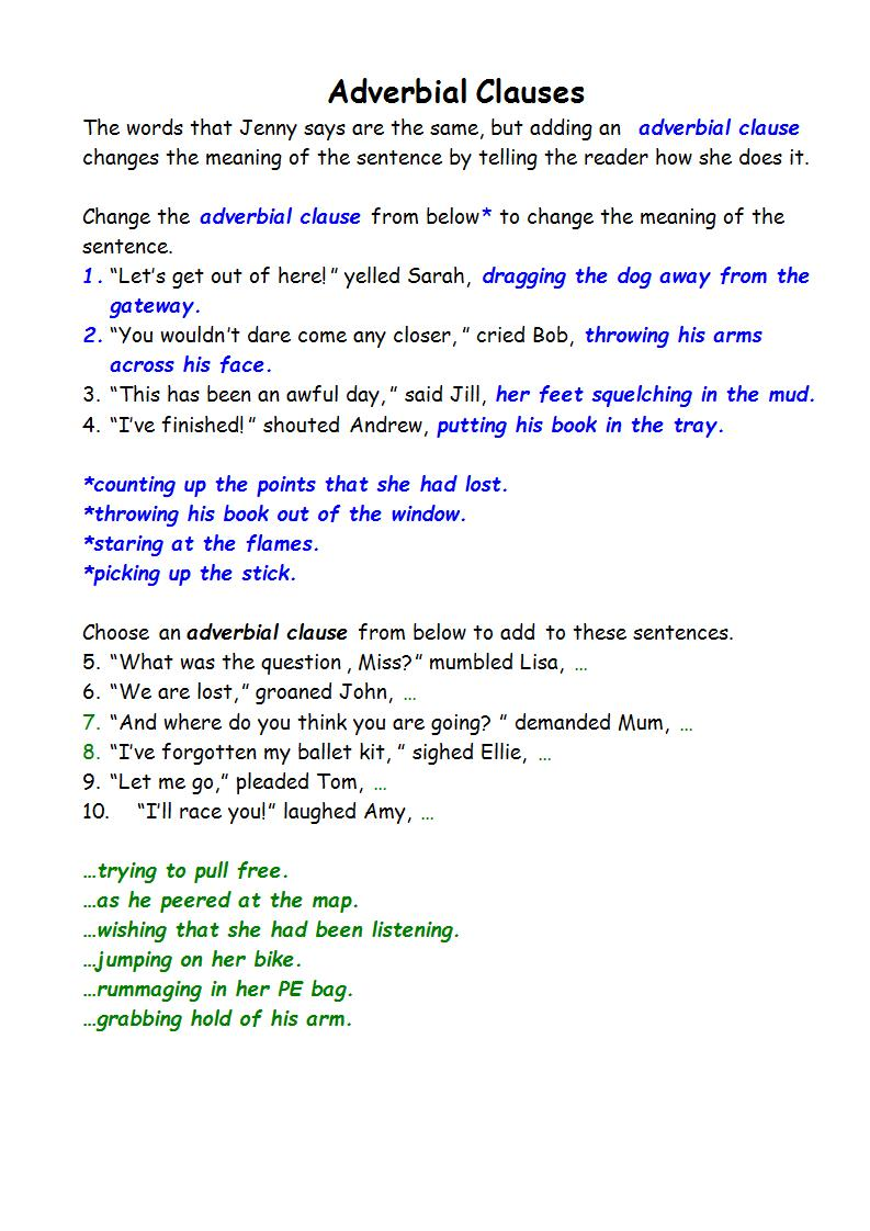 medium resolution of Adverbial Clauses Worksheets   Printable Worksheets and Activities for  Teachers