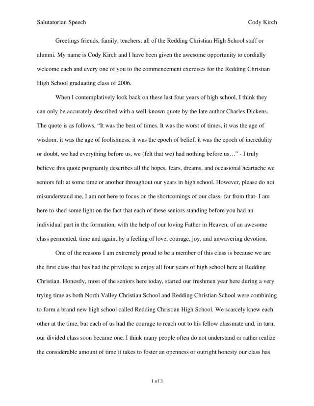 15+ Salutatorian Speech Examples - PDF  Examples
