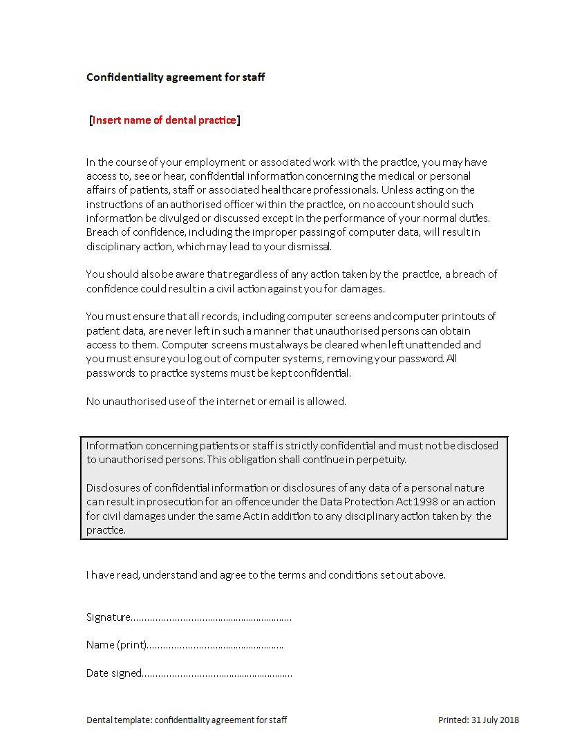 Dental Clinic Staff Confidentiality Agreement Template Example