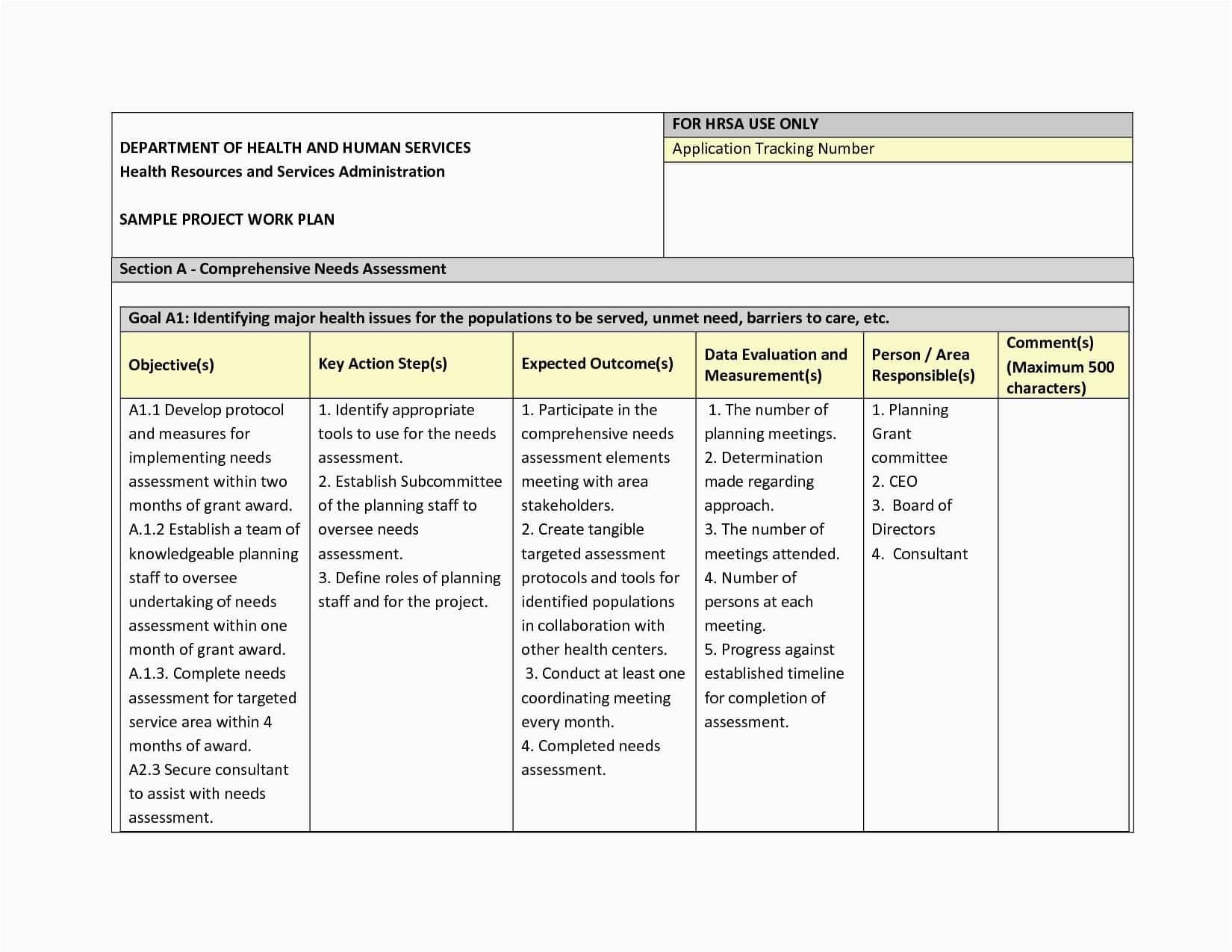 monthly work plan sample