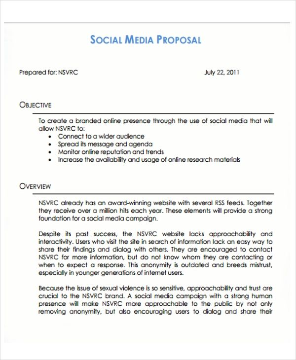 how to write a social media proposal free template