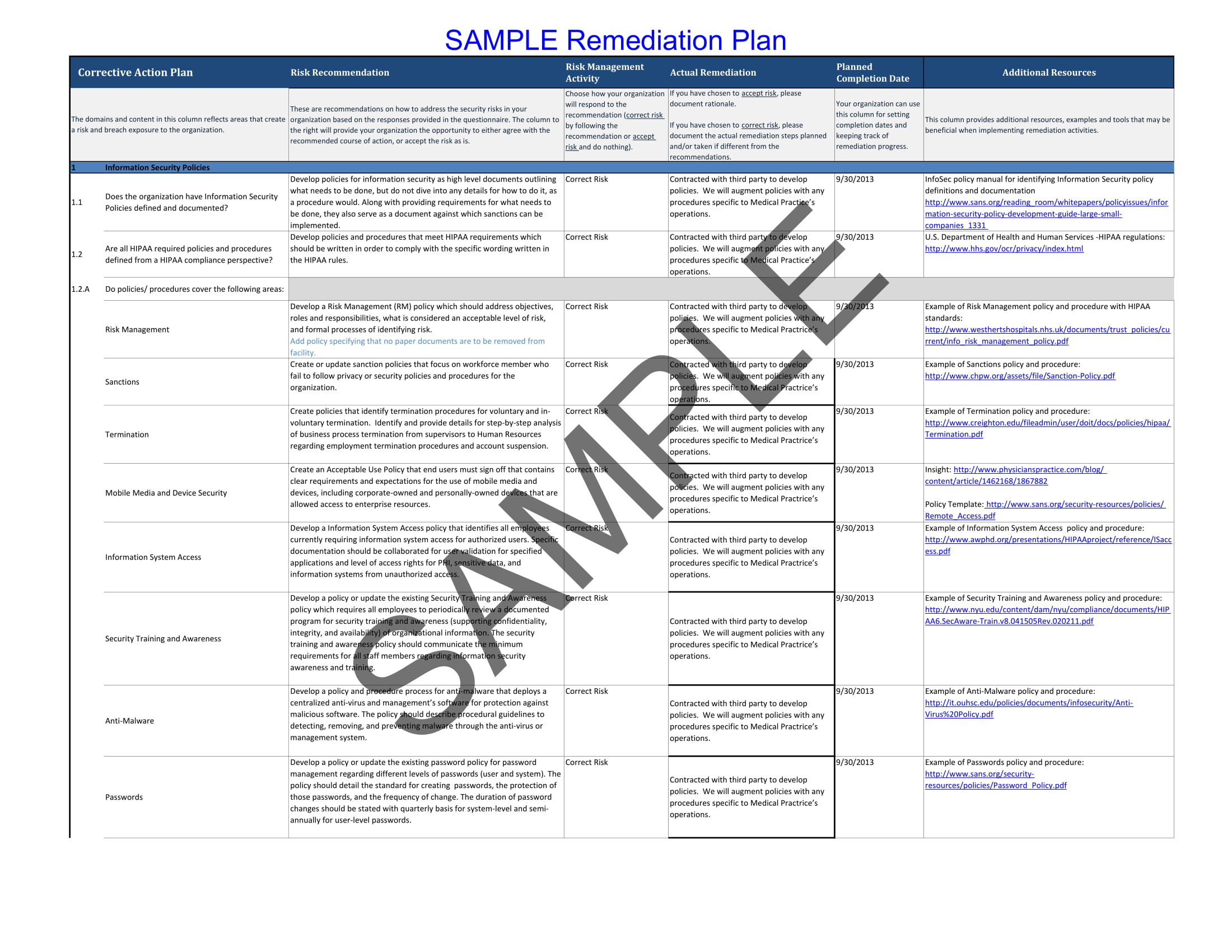 Remediation Plan Example 1