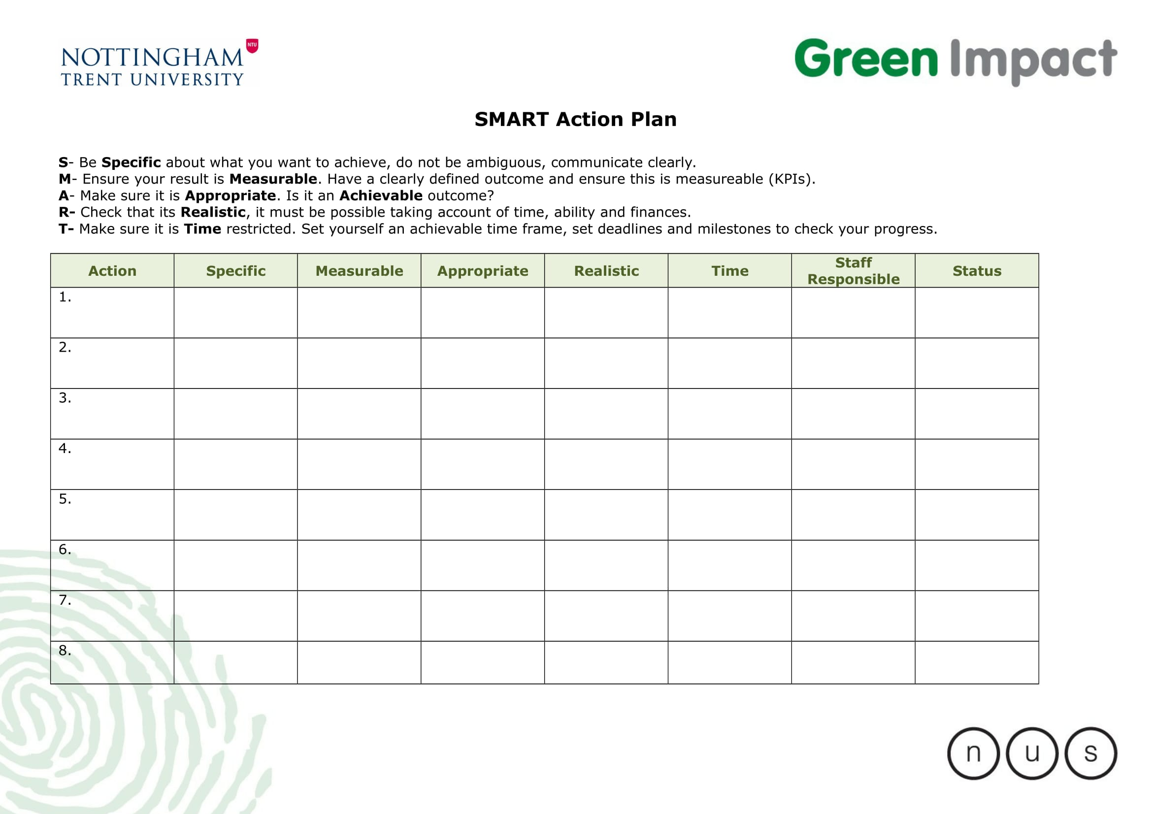 10 SMART Action Plan Examples DOC Examples