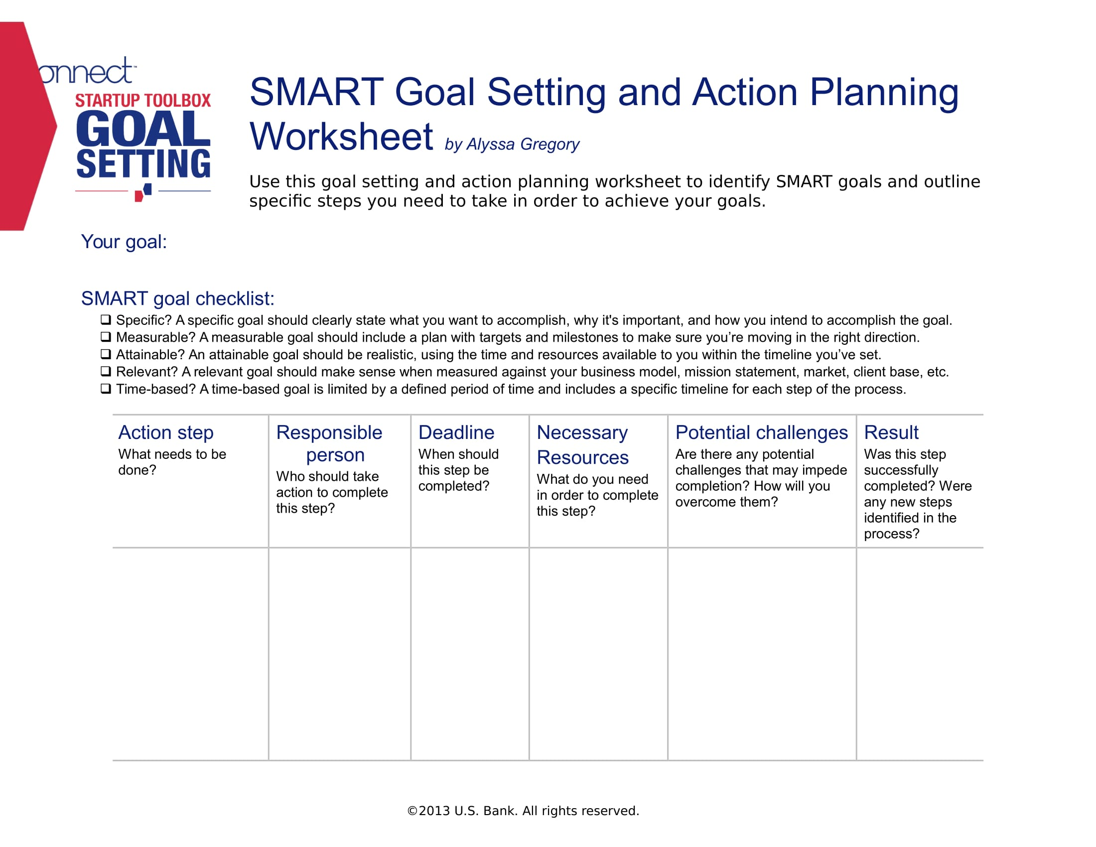 Smart Goal Setting And Action Planning Example 1
