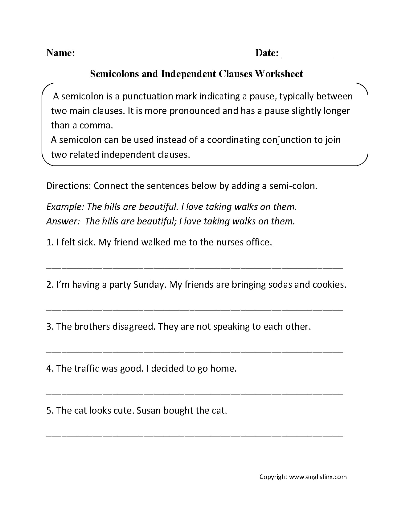 Independent Clause Examples With Worksheet Samples In