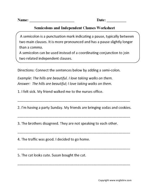 small resolution of Dependent And Independent Clauses Worksheet 4th Grade   Printable Worksheets  and Activities for Teachers