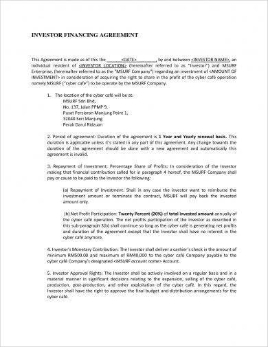 13 Small Business Investment Agreement Examples  PDF Word  Examples