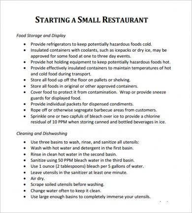 10 Restaurant Action Plan Examples  PDF  Examples