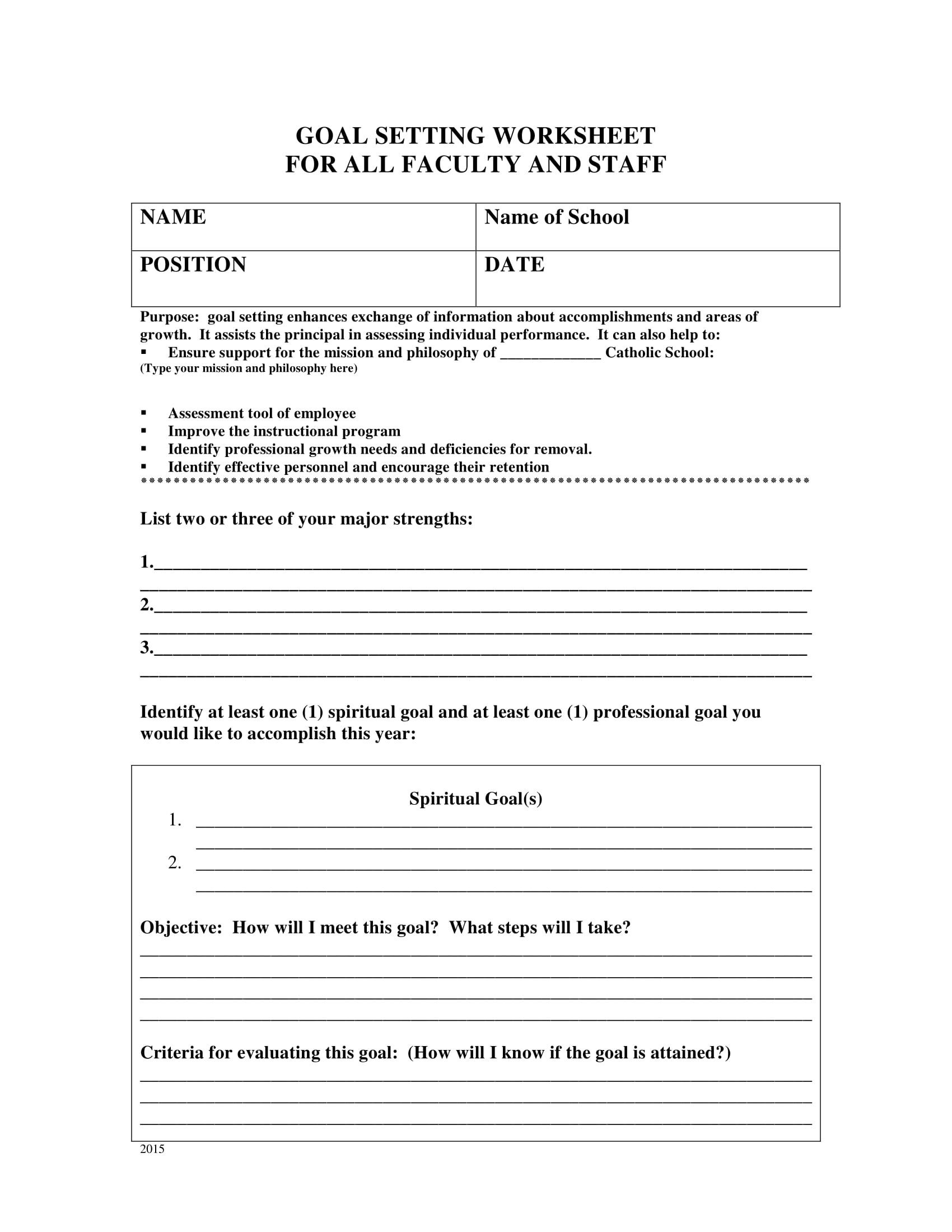 Faculty And Staff Goal Setting Worksheet Example