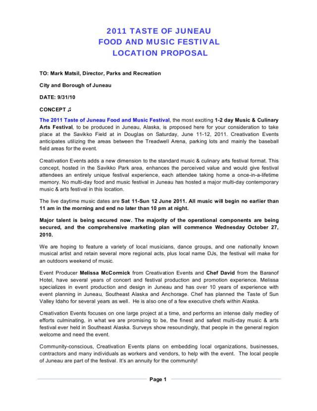 cultural festival proposal