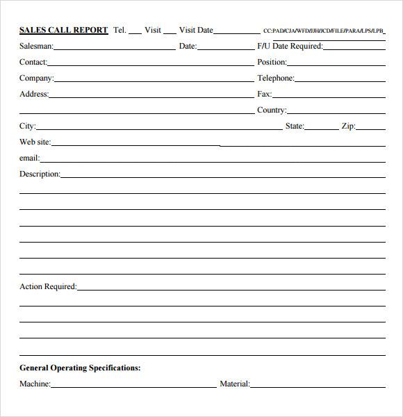 salesperson call report