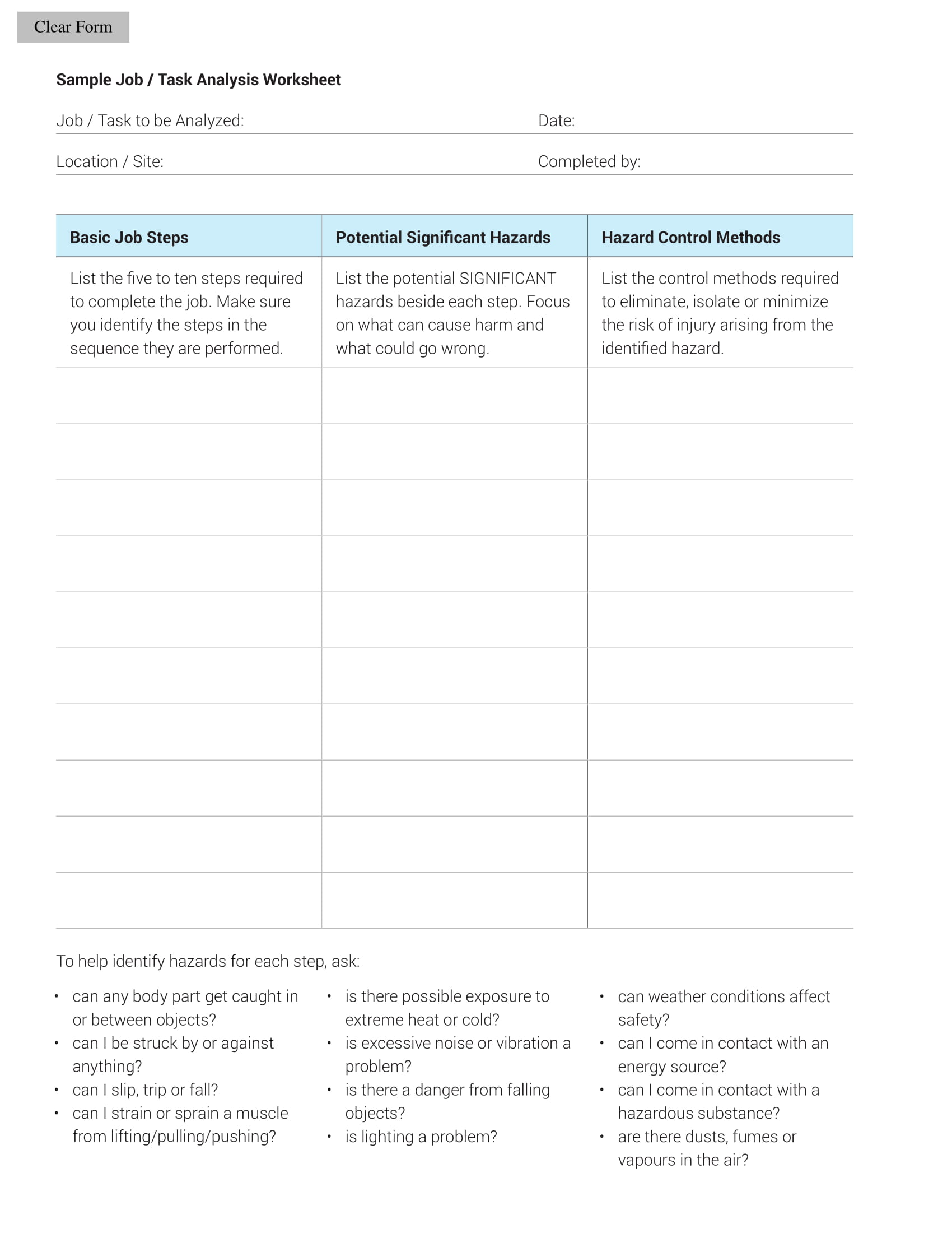 Job Taskysis Worksheet