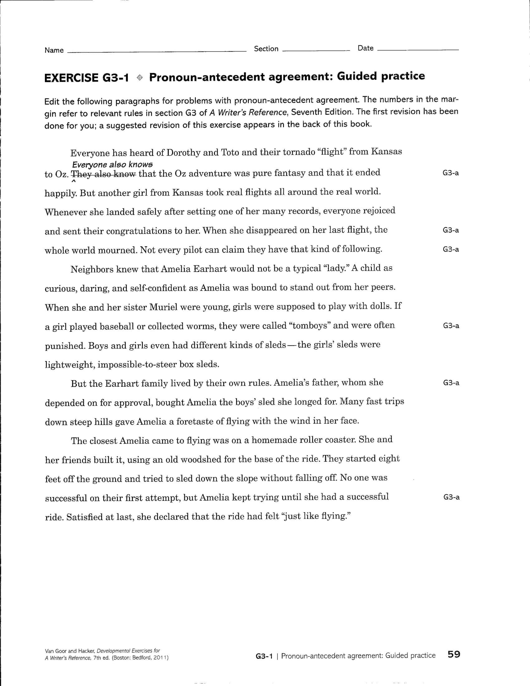 Pronoun Antecedent Agreement Guided Practice Sheet Example
