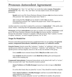 Pronoun Antecedent Agreement Worksheet S3   Printable Worksheets and  Activities for Teachers [ 2200 x 1700 Pixel ]