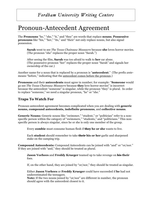 small resolution of Pronoun Antecedent Agreement Worksheet S3   Printable Worksheets and  Activities for Teachers