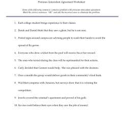 Pronoun Antecedent Worksheets Elementary   Printable Worksheets and  Activities for Teachers [ 2200 x 1700 Pixel ]