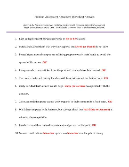 small resolution of Pronoun Antecedent Agreement Worksheet - Promotiontablecovers