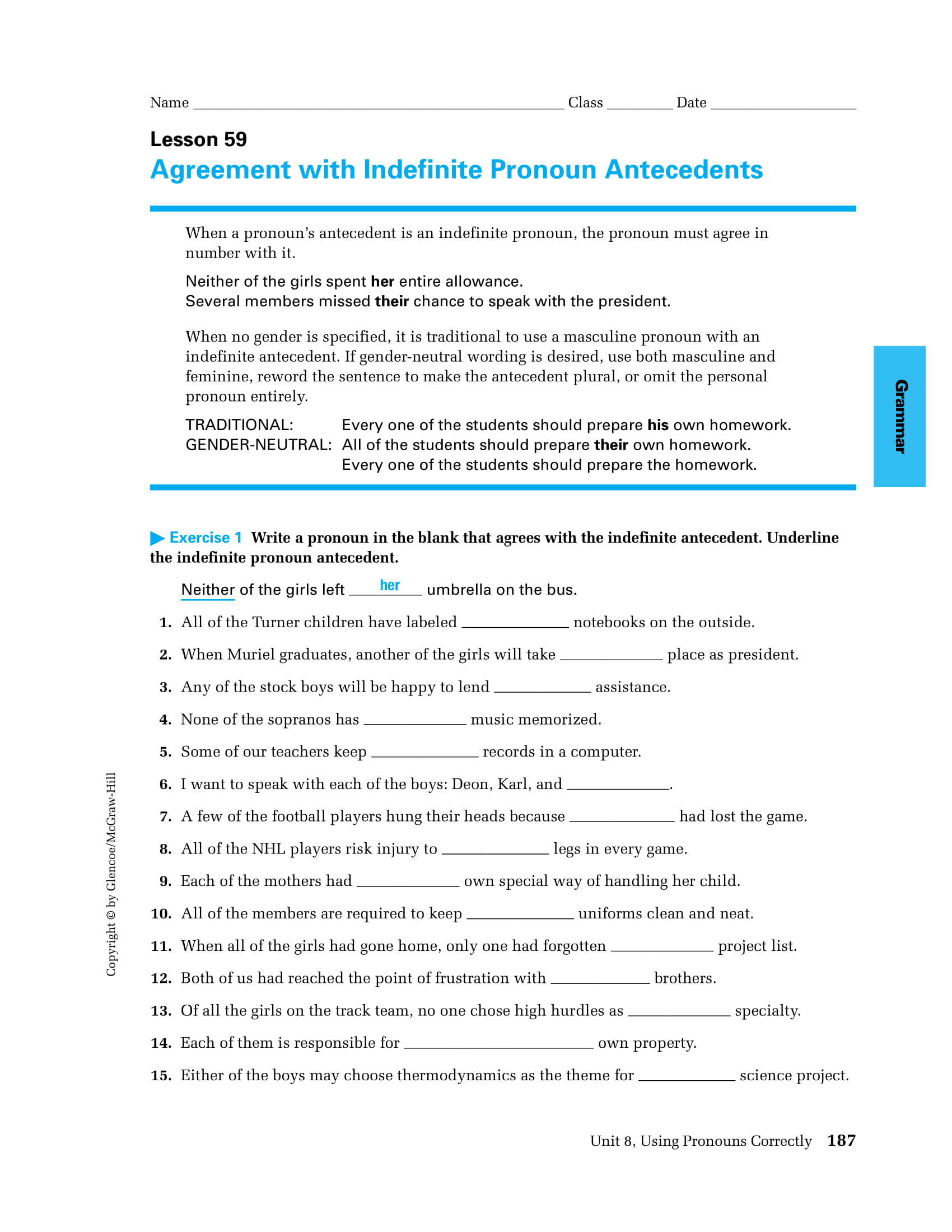 Pronoun Indefinite Antecedent Agreement Worksheet Example