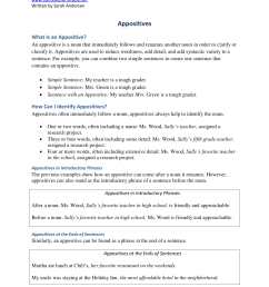 Free Appositive Worksheets   Printable Worksheets and Activities for  Teachers [ 2200 x 1700 Pixel ]