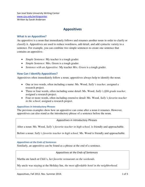 small resolution of Free Appositive Worksheets   Printable Worksheets and Activities for  Teachers