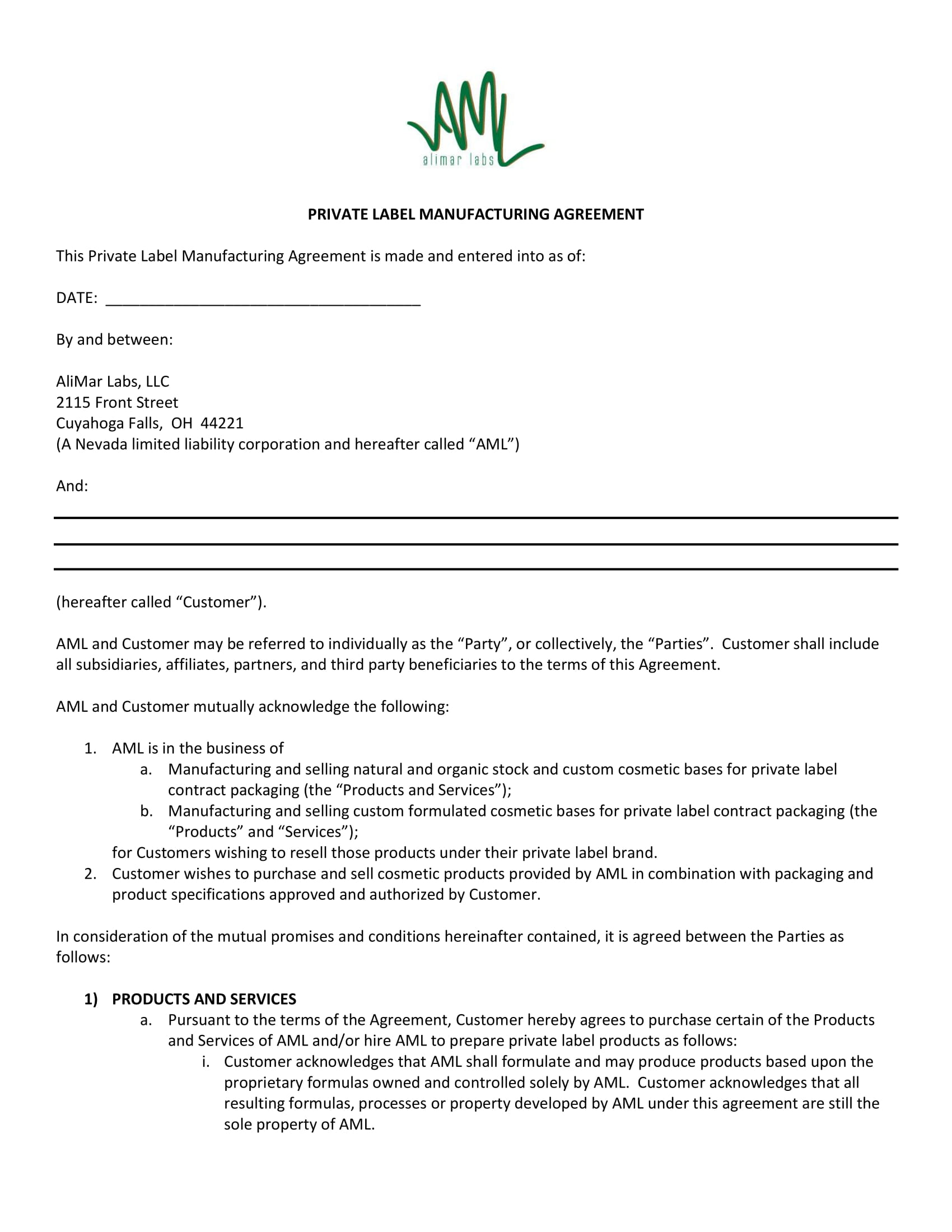 8 Contract Manufacturing Quality Agreement Printable