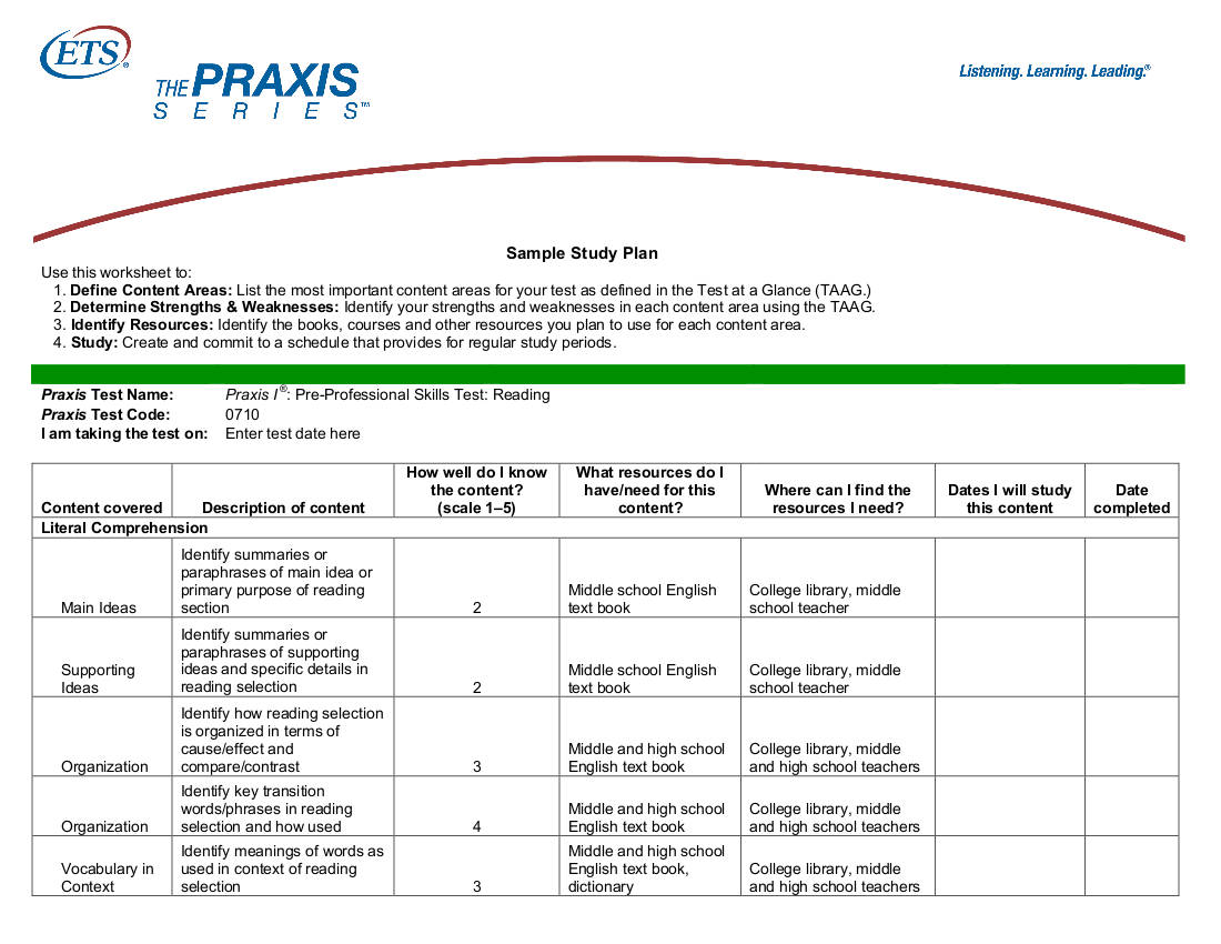 9+ Study Plan Templates For Students