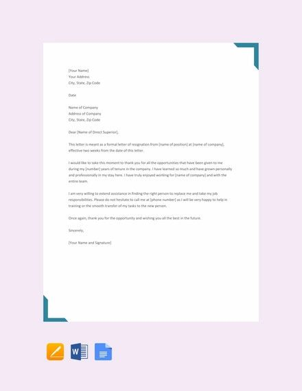 two weeks notice letter example