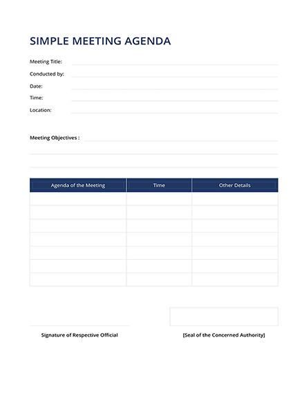 simple meeting agenda template
