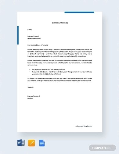 6 Best Lease Renewal Letter To Tenant Examples Templates