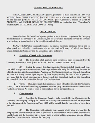 This document is a simple consulting agreement template and may be modified and supplemented with further sections and particulars. Free 12 Consulting Agreement Examples Templates Pdf Examples